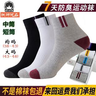 5双装夏季男士纯棉中筒运动潮男袜