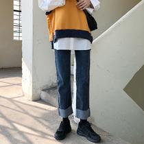 直筒牛仔裤女大码胖mm适合胯大腿粗宽松显瘦韩版高腰毛边阔腿长裤