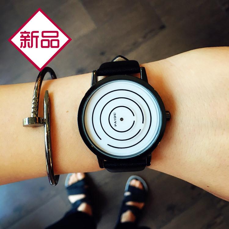 概念无指针极简创意手表女学生韩版简约个性情侣手表一对时尚男表