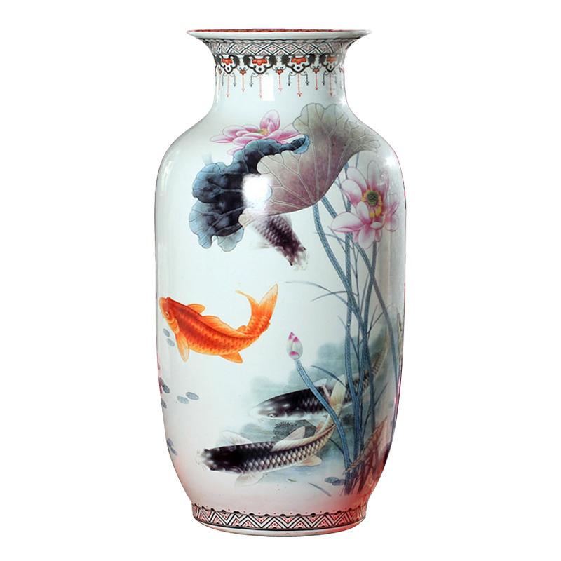 景德镇陶瓷器 粉彩年年有余落地大花瓶荷花鱼冬瓜瓶 现代家饰摆件
