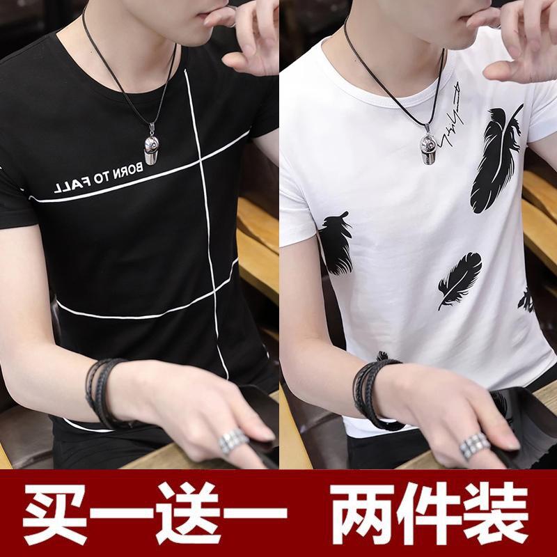 2018新款個性潮流有圖案便宜短軸學生短袖t恤韓版夏天上衣男裝土