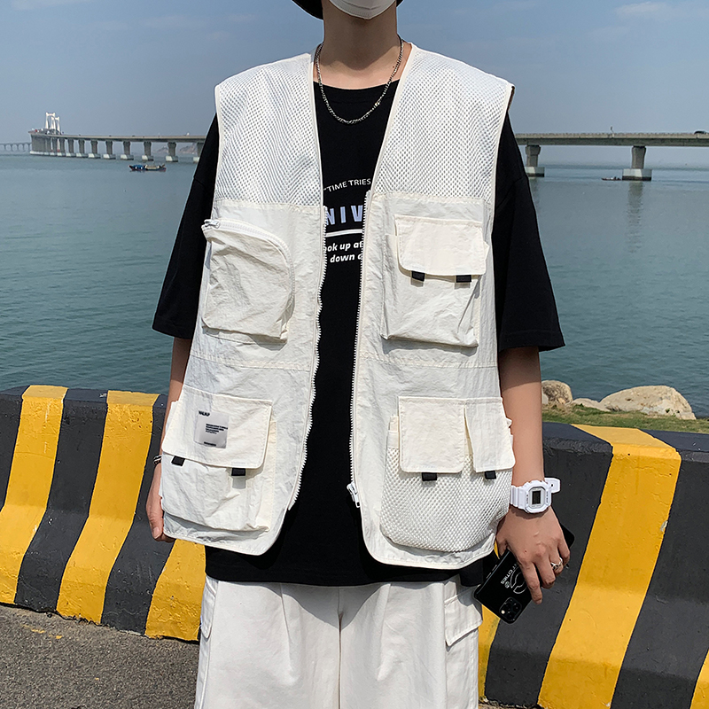 Real work Jacket Vest brand personalized summer functional style thin vest ins trend loose waistcoat