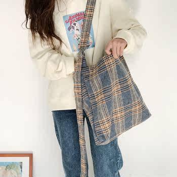 韩版复古英伦格子帆布包女斜跨 简约ins百搭大容量单肩包学生包包