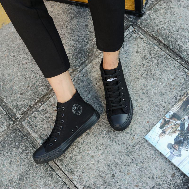 秋季系带潮流英伦高帮帆布鞋男韩版工作休闲板鞋纯黑色情侣潮鞋子