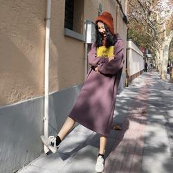 加绒加厚保暖连帽卫衣连衣裙女秋冬韩版学生绒衫中长款懒人长裙