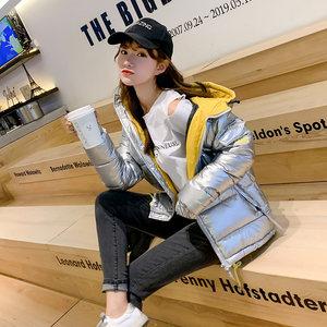 银色羽绒棉服女短款韩版2019冬季新款修身厚棉袄小个子棉衣外套潮