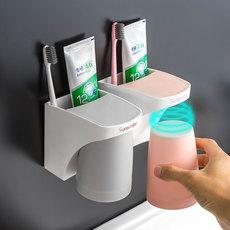 北欧创意卫生间置物架免打孔情侣漱口杯吸壁挂式牙刷架牙膏收纳架