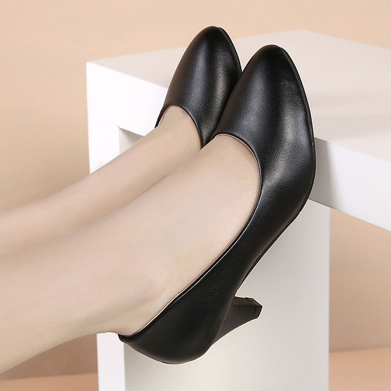 工作鞋女黑色中跟粗跟职业礼仪高跟皮鞋超软面软底正装面试女单鞋