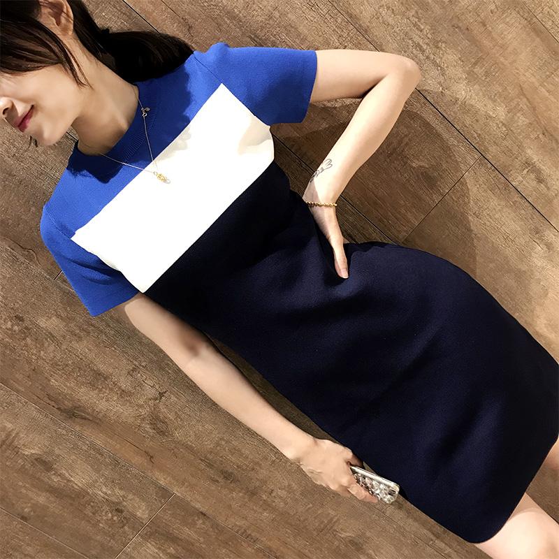 预加大码女装胖mm2018夏装韩版小清新短袖修身显瘦拼色针织连衣裙