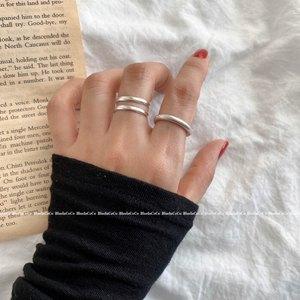 素圈情侣韩国手工百搭潮食指个性足银S990纯银925光面简约女戒指