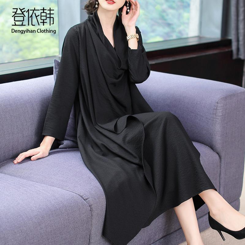 阔太太连衣裙秋季2019大码胖mm高端洋气长袖中年妈妈贵夫人长裙女限100000张券