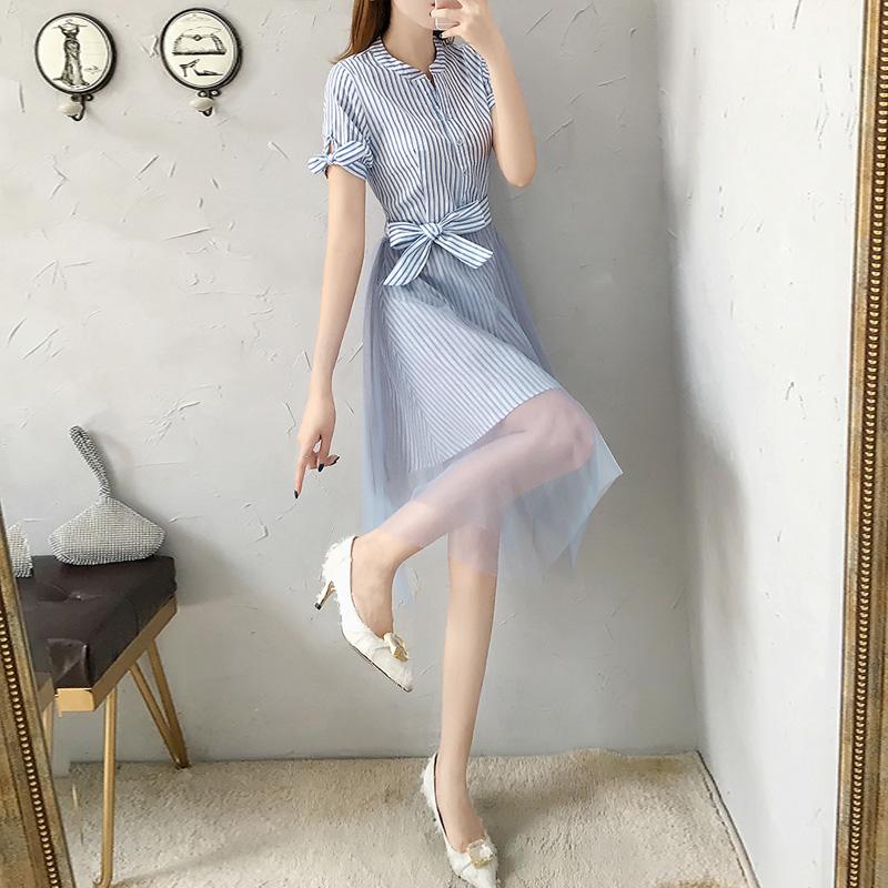 夏装2019新款法国小众蓝色休闲裙子168.00元包邮