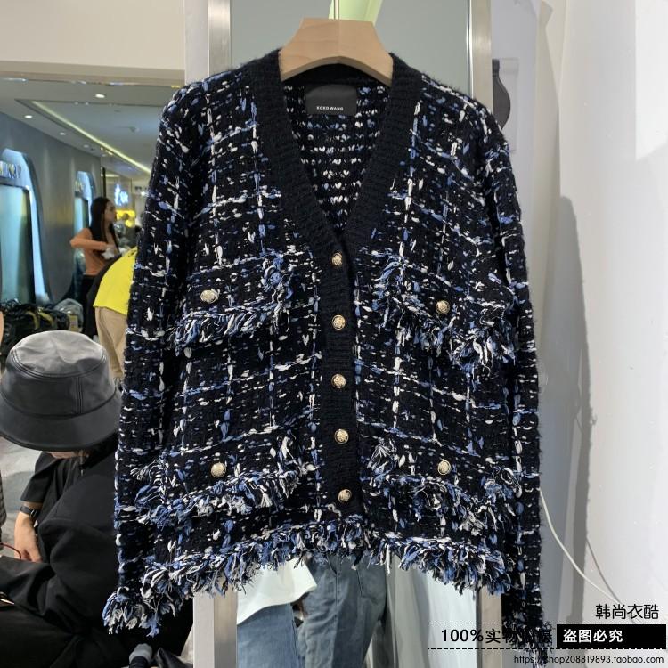 欧洲站 2019秋季新款女士精品针织外套 宽松单排扣V领长袖开衫潮