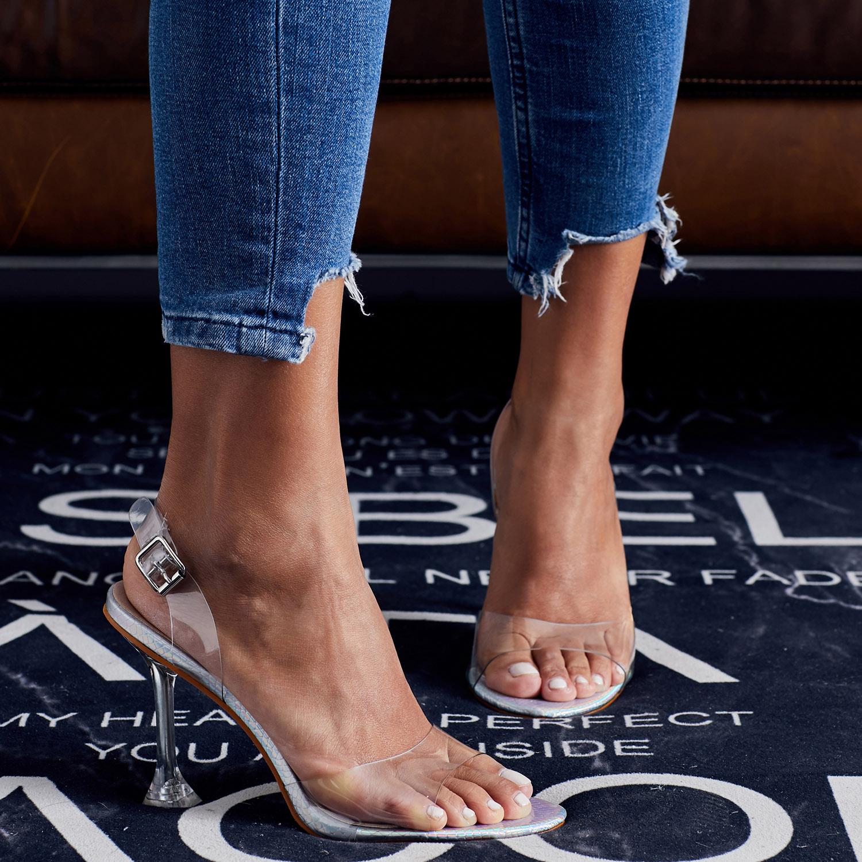 2020夏季新款欧美网红款百搭露趾凉鞋女透明高跟鞋细跟仙女风女鞋