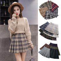 Woolen plaid Pleated A skirt woman 2018 autumn winter new high waist ins super fire half skirt skirt winter skirt