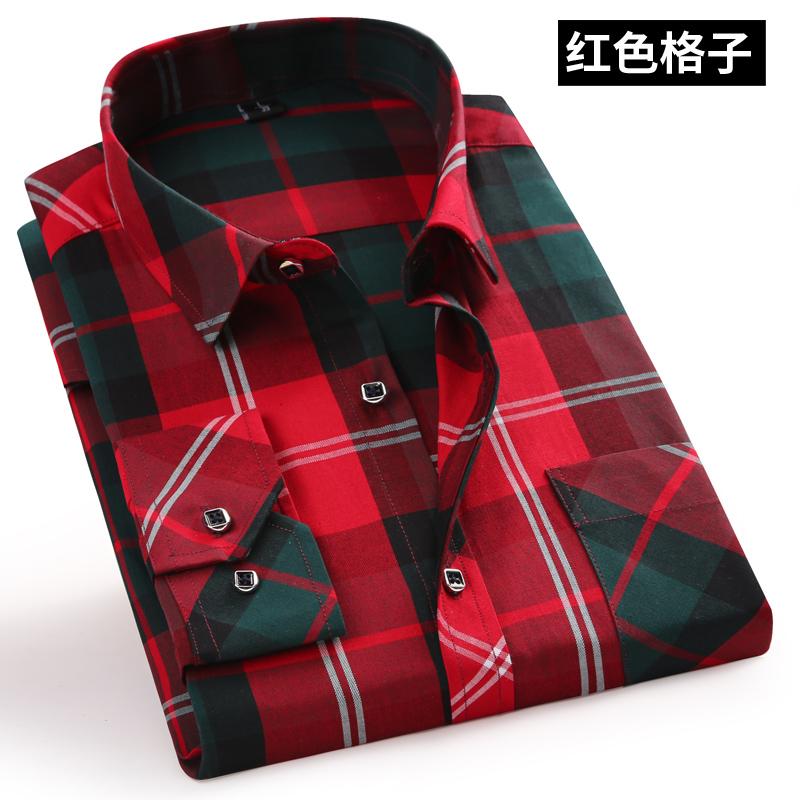 电商A016-1-2019 P22 男士格子衬衫韩版长袖衬衣男装印花格子潮流