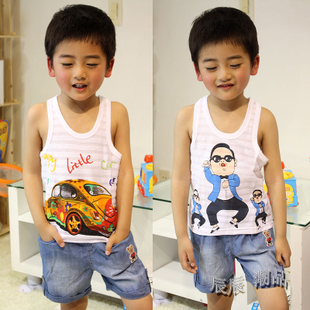 Kids summer 2015 children s cartoon vest cotton vest baby boys and girls sleeveless t shirt