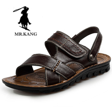 3fc79097fd13 Velcro leisure men sandals in old people comfortable and cool summer slippers  shoe leather sandals dad