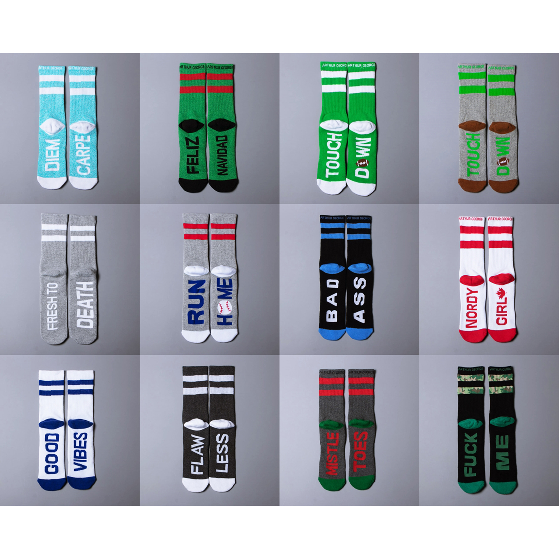 Mens and womens Arthur George towel bottom sports cotton socks cushion skateboard skiing warm fitness socks letter socks