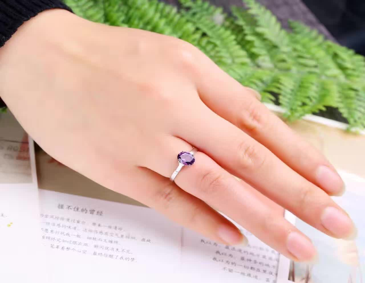 925 silver inlaid gem ring female 6 * 8mm natural amethyst ring Amethyst Ring genuine with box