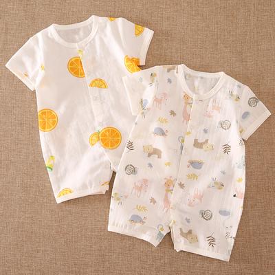 婴儿连体衣夏季薄款 男女宝宝纱布短袖哈衣空调服 新生儿爬爬服