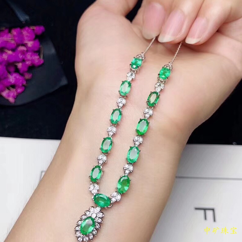 Emerald Necklace Chain Pendant row evening banquet luxury S925 silver plated 18K White Gold fidelity gem