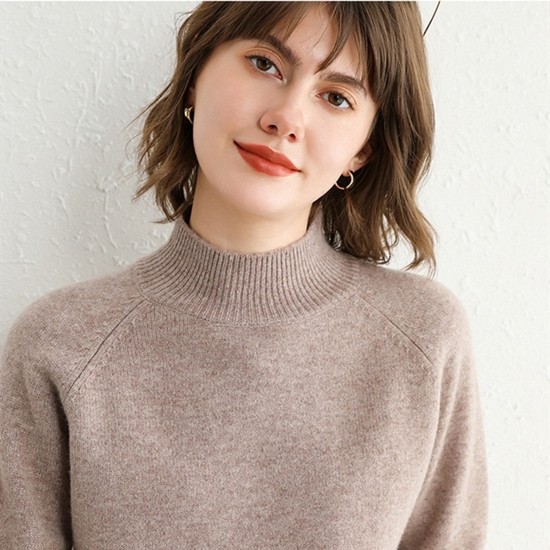 Autumn and winter 2020 100% woolen sweater womens seven needle shoulder socketed thickened loose sweater western style half high collar knitted base coat