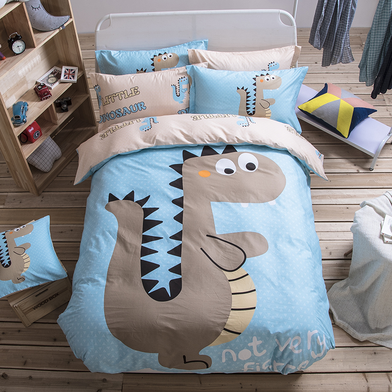Pure cotton 4-piece childrens cartoon all cotton bed sheet boys and girls quilt cover fitted sheet 3-piece 1.2m bedding