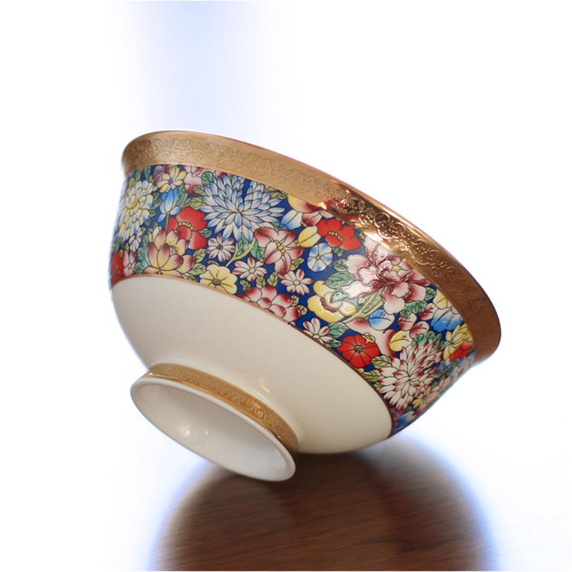 骨瓷珐琅彩故园花色宫廷风高足家用创意描金饭碗汤碗节日礼品温州