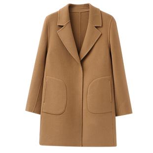 雙面呢外套女短款2020秋冬季韓版大碼中年媽媽裝羊絨大衣100%羊毛