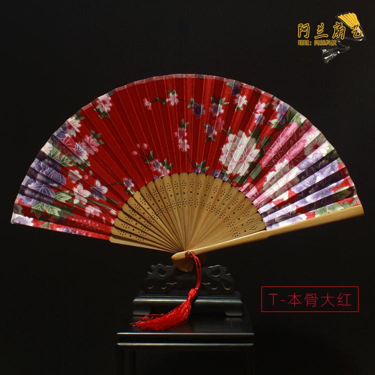 特价 精品绫绢古风扇子女式折扇 复古大红色中国风礼品古典小绢扇