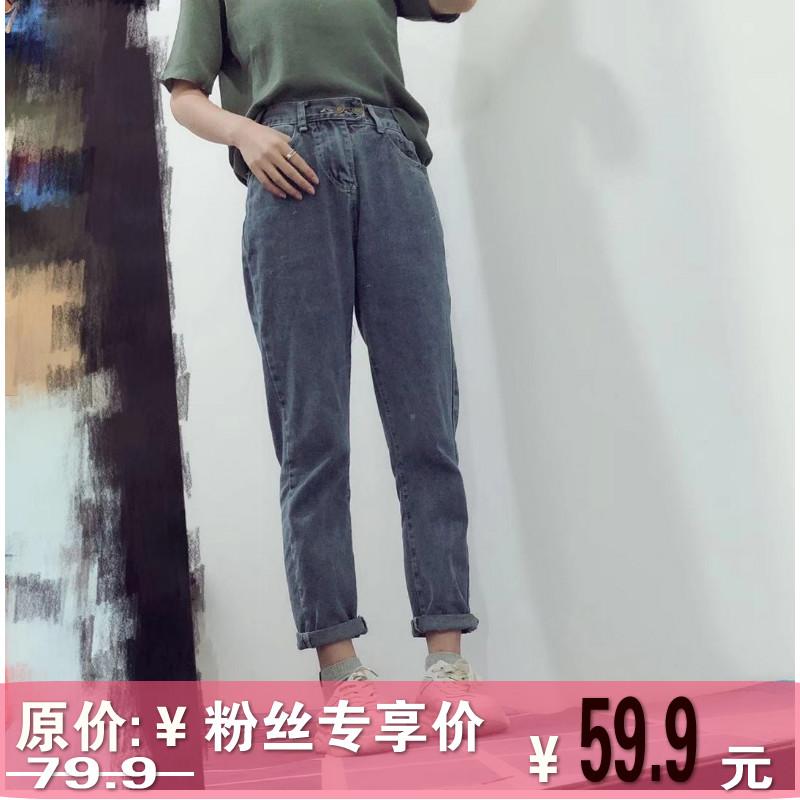 周周定制 韩版高腰宽松显瘦百搭牛仔裤女