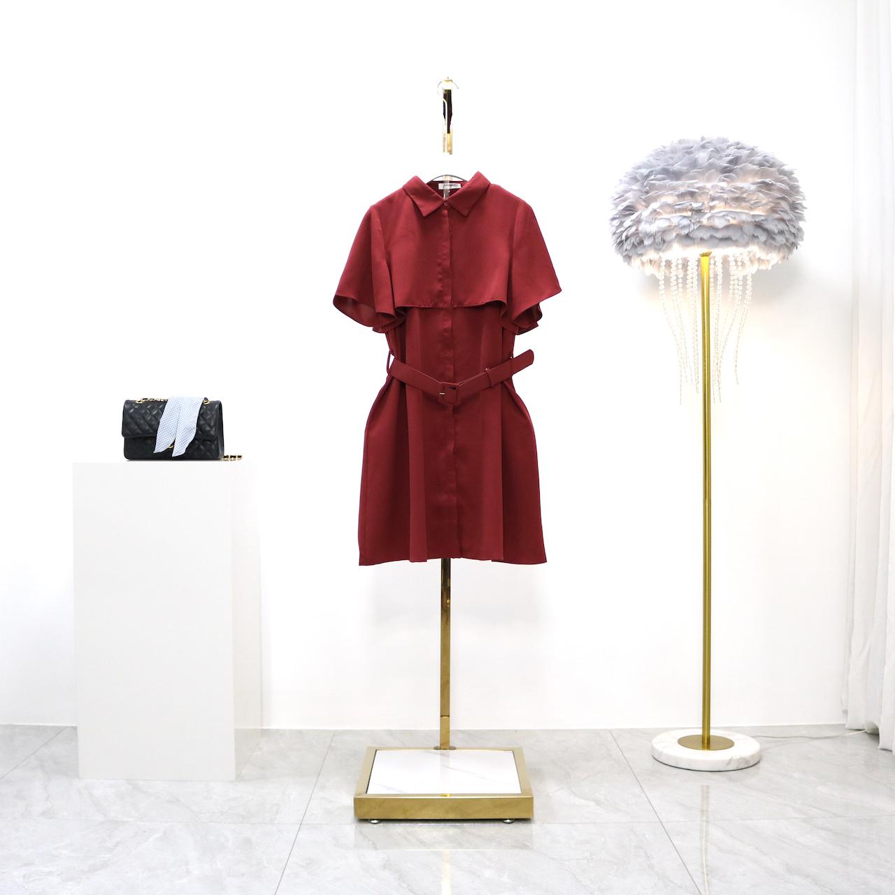 完士2020年夏季新款韩版单排扣腰带纯色显瘦雪纺衬衫百搭连衣裙女