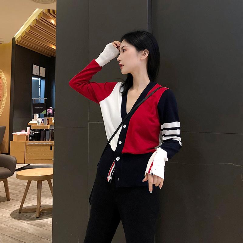 V领新秋冬女针织开衫显瘦tb毛衣短款小外套红色上衣百搭打底修身