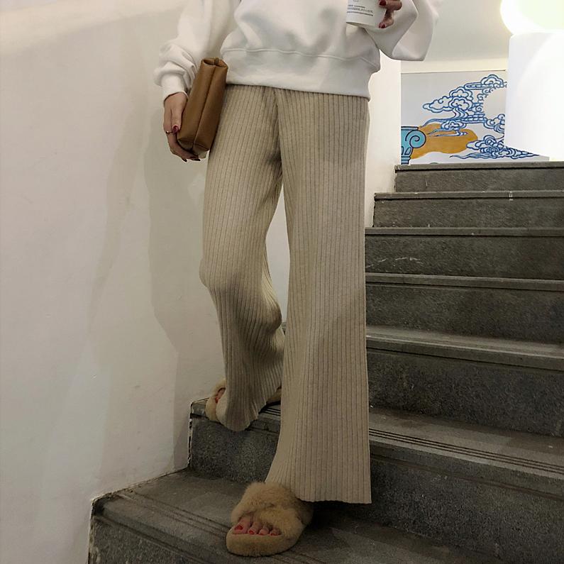 秋季韩版女装复古chic宽松显瘦阔腿裤百搭高腰休闲裤纯色直筒长裤