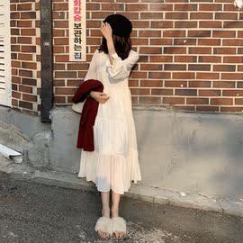 秋装韩版女装仙女气质长袖雪纺连衣裙宽松显瘦打底裙休闲过膝长裙图片