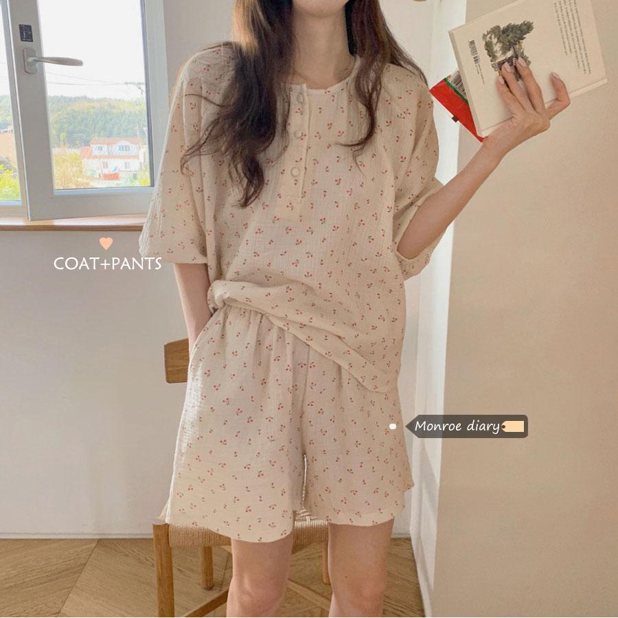 网红睡衣女夏季甜美日系薄款可爱短袖短裤套装可外穿家居服两件套