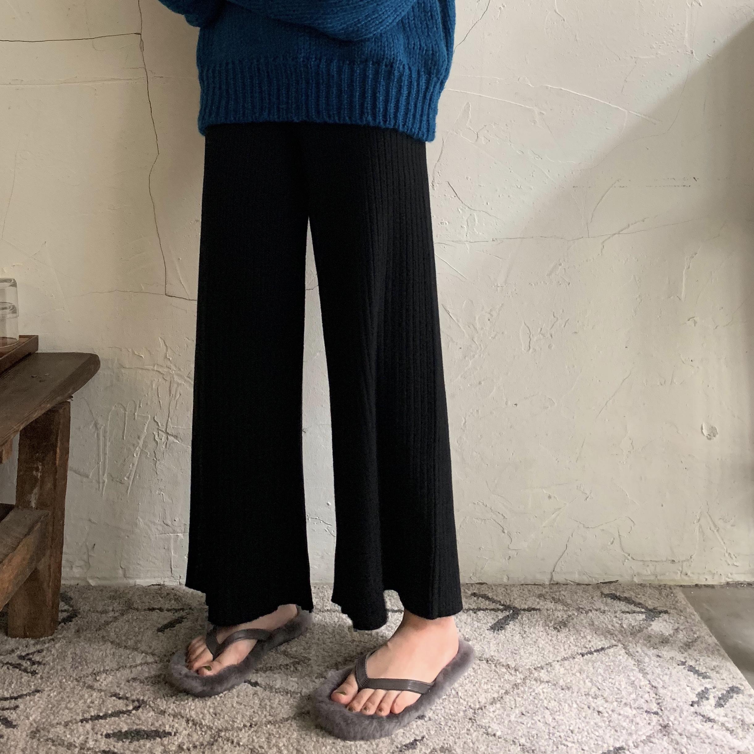秋冬韩版女装宽松显瘦阔腿裤高腰百搭针织休闲裤chic复古直筒长裤