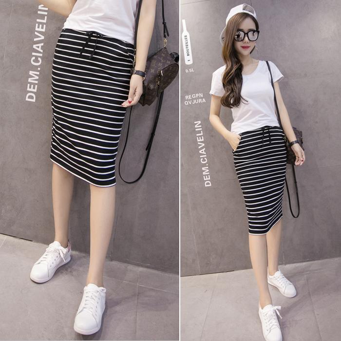 韩版夏季新款黑白条纹包臀半身裙