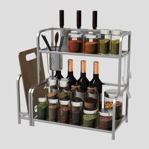 厨房置物架不锈钢架子2层调味调料架壁挂刀架厨房用品收纳储物架