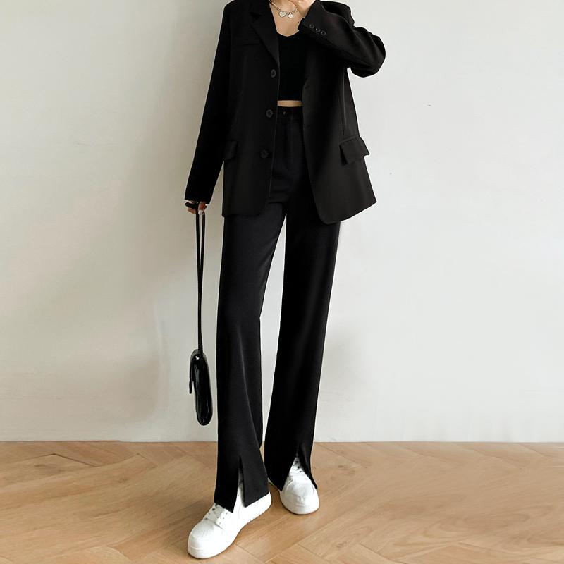 前开叉裤子女春款女装2021年新款高腰直筒垂感拖地西装阔腿裤长裤