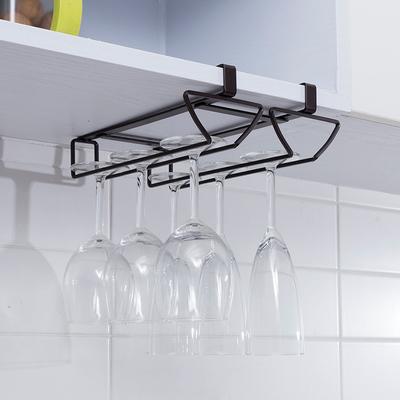 欧润哲 橱柜下挂式红酒杯架 厨房双排酒杯倒挂架 悬挂式高脚杯架