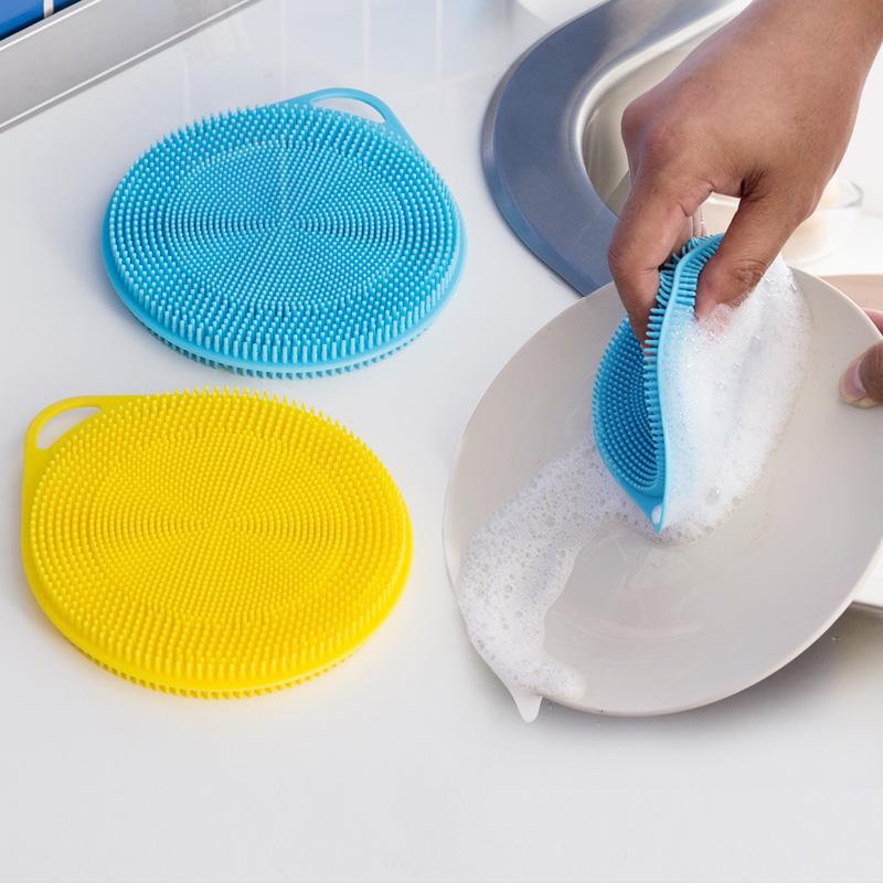 欧润哲 硅胶多功能百洁布 厨房餐具碗碟刷子 不粘锅清洁洗碗刷