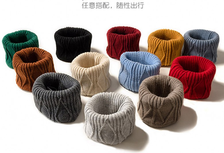 Cashmere collar mens and womens thickened neck cover wool knitted scarf autumn and winter warm cover neck and cervical spine windproof