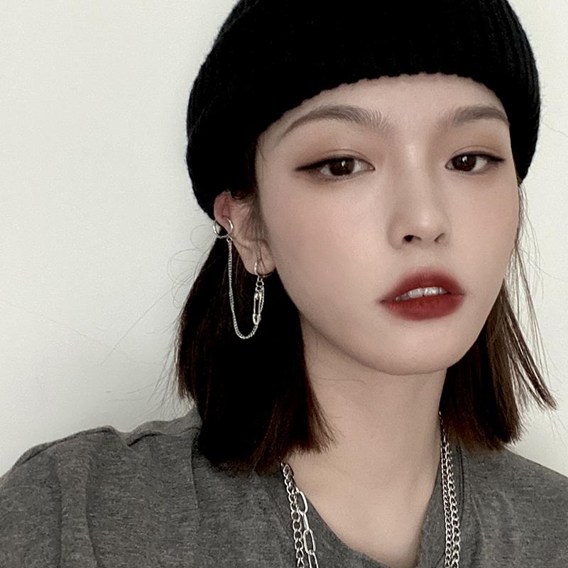 星美饰 EXO边伯贤同款双耳洞连体耳钉韩版别针耳夹耳环耳坠女长款