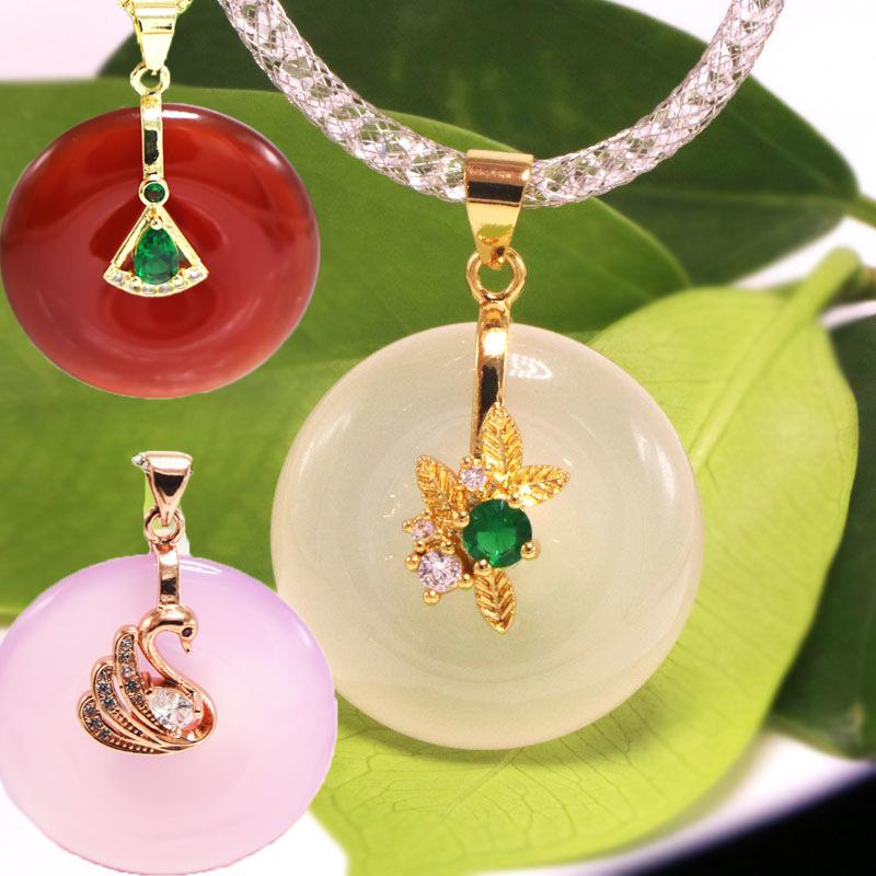Safety clasp DIY accessories 925 half silver small pendant clasp Jade Jadeite wax Necklace clasp