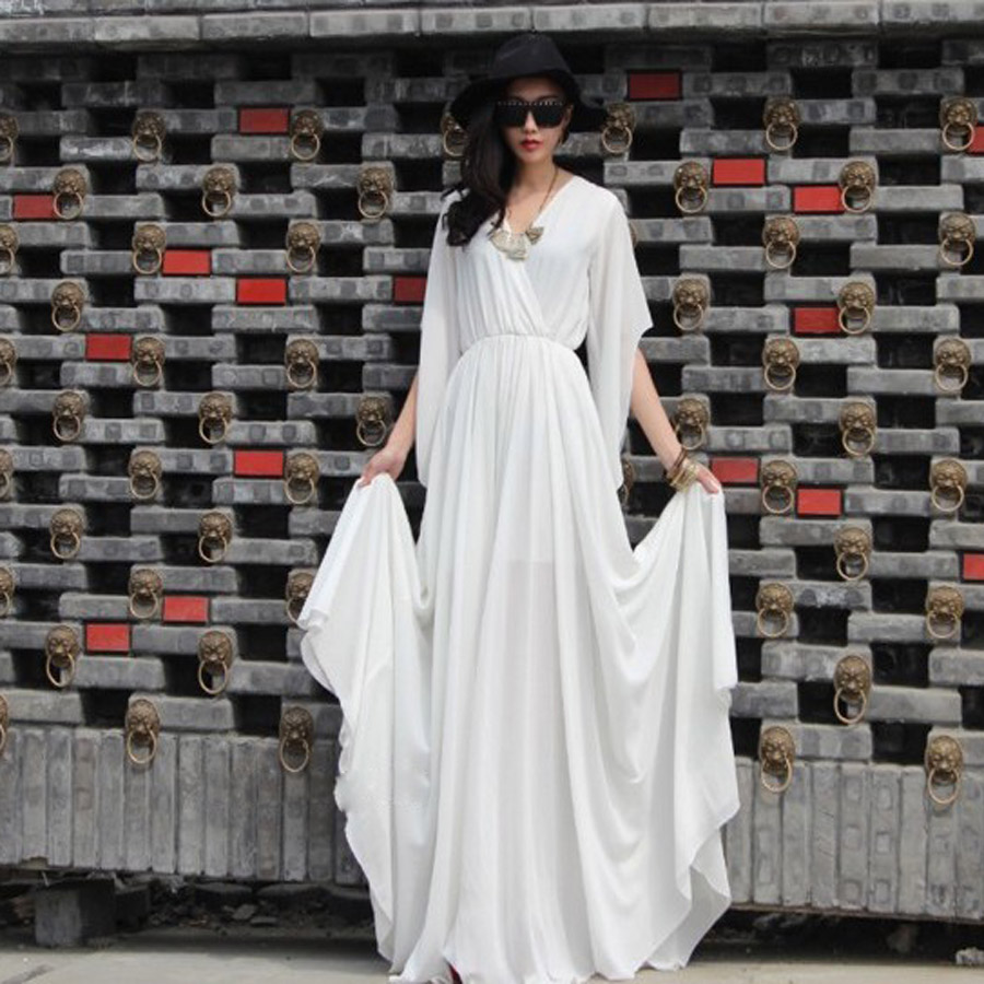 Cut size clearance spring and summer simple V-neck solid color flared sleeve loose Chiffon Dress large swing holiday dress