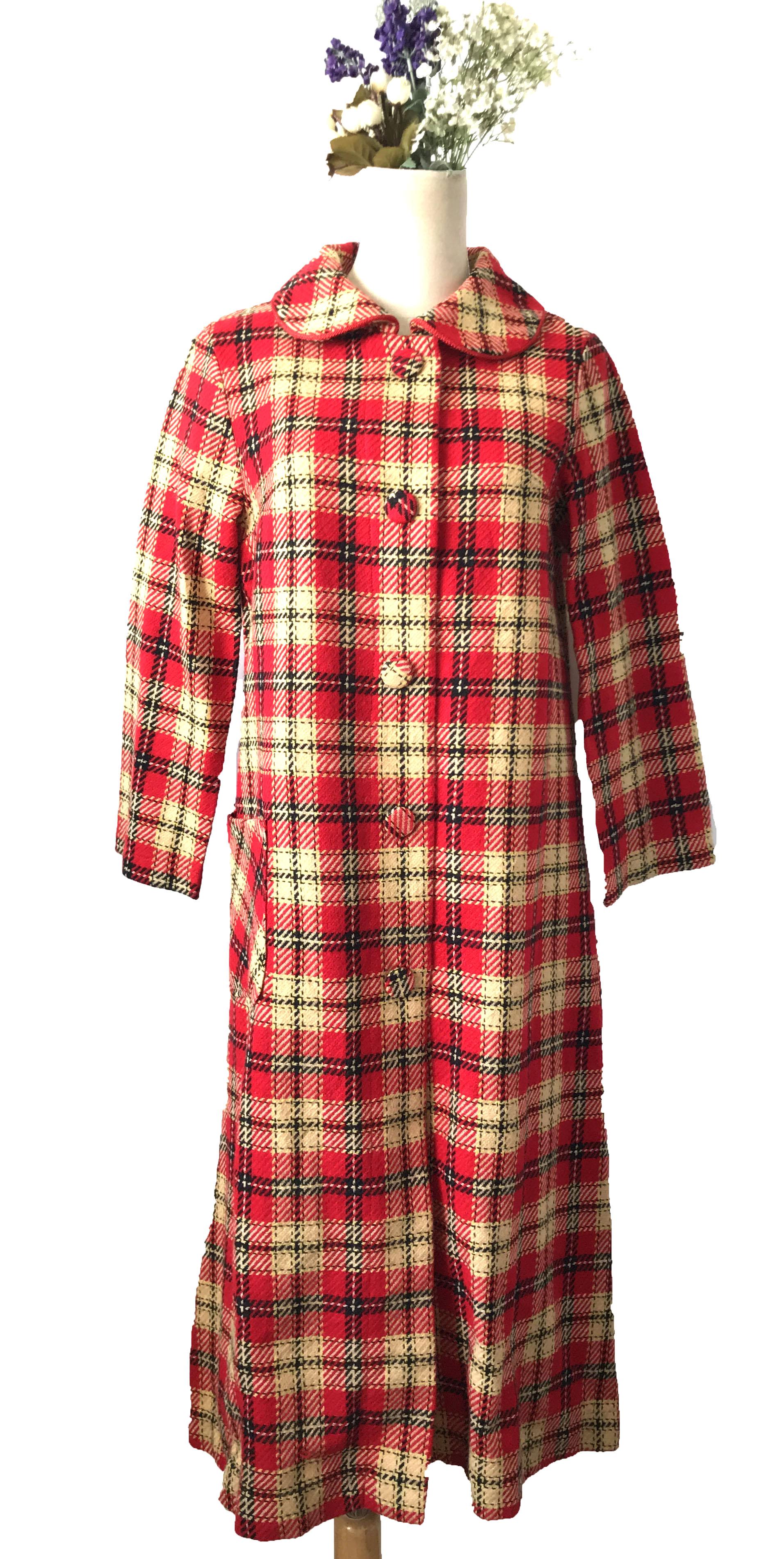 Vintage Vintage heavy work Plaid bag buckle for slim fit red Tweed Wool Coat coat