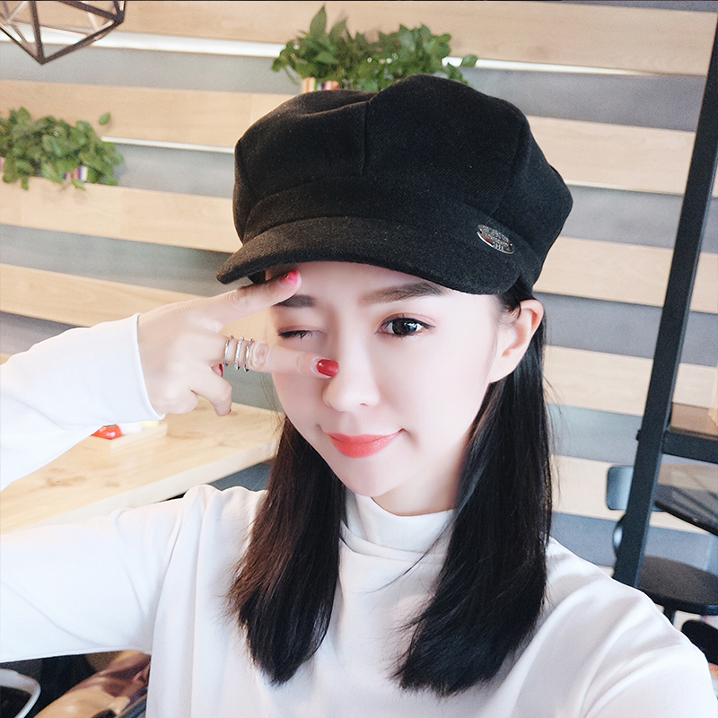 Hat woman autumn duck tongue Beret summer Korean fashion Japanese versatile octagonal hat British sweet cute trend