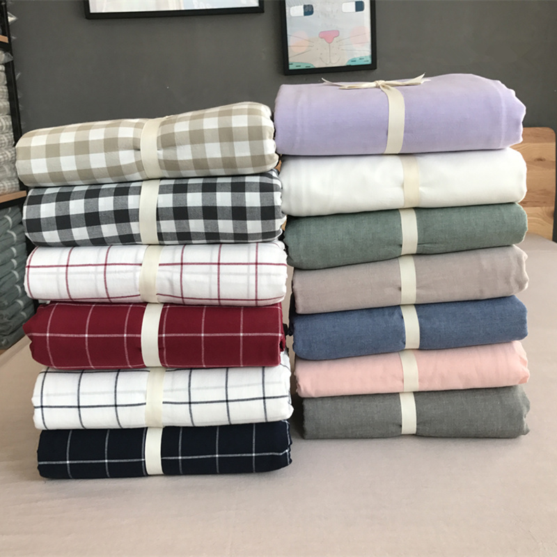 Printed washable cotton fitted sheet single piece all cotton good product solid color single double dormitory sheet bedspread mattress protective cover